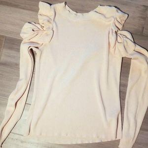 Blush cold shoulder ruffle sweater